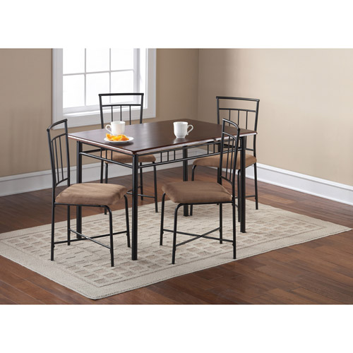 5 piece wood and metal dining set espresso nyfastfurniture for Dining room sets walmart
